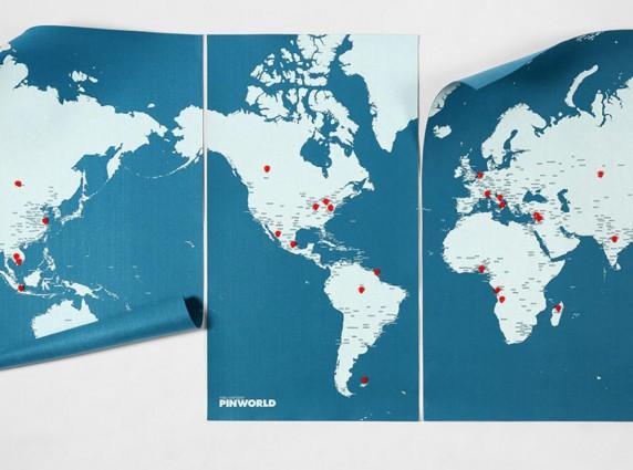 world pin map xxl blue χάρτης τοίχου